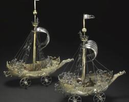 8. 德國銀胎局部鎏金帆船造型酒杯 蓋約·穆納製造,紐倫堡, 1624-29年 |