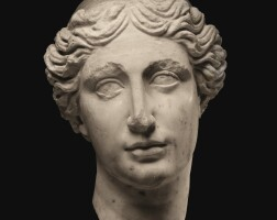 18. a fragmentary roman marble head of a goddess, circa 2nd half of the 2nd century a.d. | a fragmentary roman marble head of a goddess