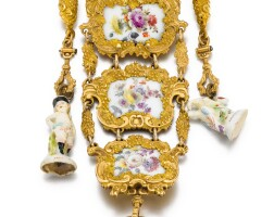 37. baillion à paris   afine and rare gold mounted single cased porcelainwatch and chatelaine attributed to meissencirca 1755