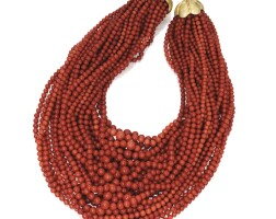 21. gold, coral and diamond necklace