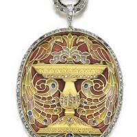 2. enamel, sapphire and diamond pendant/brooch, masriera, 1920s