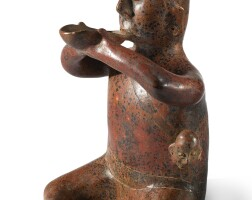 36. colima seated drinker with trophy head, protoclassic, ca. 100 b.c.-a.d. 250