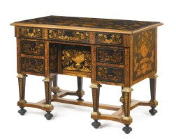219. a louis xiv parcel-gilt ebony, kingwood, fruitwood and marquetry bureau brisé, in the manner of pierre gole the legs later