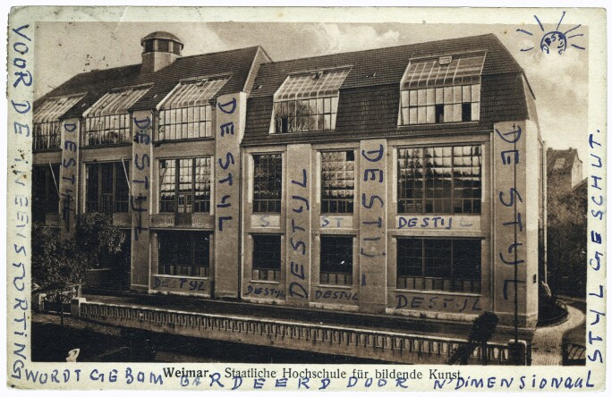 Postcard of the exterior of the Bauhaus in Weimar