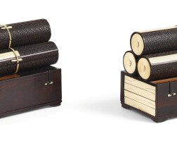 3413. a pair of ivory-inlaid zitan scroll-shaped boxes and covers qing dynasty, 18th century |