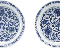 593. a pair of blue and white dishes marks and period of kangxi
