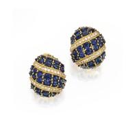 28. pair of 18 karat gold, sapphire and diamond earclips