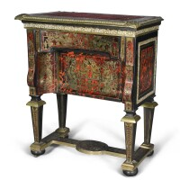 249. a french gilt-bronze mounted ebony and ebonized red tortoiseshell and brass boulle marquetry table, second half 19th century, incorporating early 18th century elements |