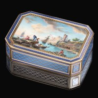 47. a gold and enamel snuff box, hanau, circa 1790, the painted enamel by antoine carteret |