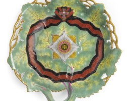 27. a russian porcelain leaf-shaped dish from the service for the order of st. vladimir, gardner porcelain manufactory, verbilki, 1783-1785