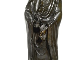 13. a silver-inlaid bronze figure of guanyin qing dynasty, 18th century