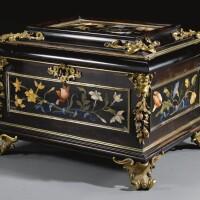 7. an italian gilt-bronze and gilt-brass-mounted pietre dure, ebony and palisander casket, galleria dei lavori, florence last quarter 17th century