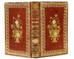 6. almanach pour l'année 1718. d'houry, 1718. in-8. reliure mosaïquée à décor floral, maroquin rouge de l'époque.