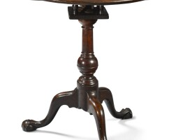 6039. very rare chippendale carved mahogany dish-top tilt-top candlestand, pennsylvania, circa 1770