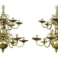 15. a pair of dutch brass chandeliers, 17th century |