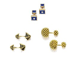 1607. three pairs of cufflinks, van cleef & arpels, schlumberger for tiffany & co.