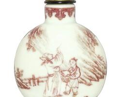492. 清十八至十九世紀 釉裏紅米芾題石及李白醉酒鼻煙壺