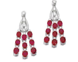 8. pair of ruby and diamond earrings