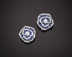 11. pair of sapphire and diamond 'camellia' earclips, van cleef & arpels