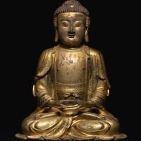 313. 明十六 / 十七世紀 銅鎏金阿彌陀佛坐像  