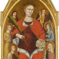 39. lorenzo di bicci   saint catherine of alexandria with six virtues; above, christ the redeemer, blessing