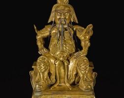 318. 清十八 / 十九世紀 銅鎏金關帝坐像  