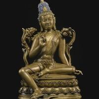 705. a bronze figure depicting khasarpana lokeshvara tibet, 13th/14th century