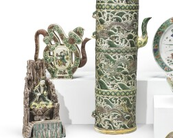 1049. a famille-verte figure of guanyin and two famille-verte ewers qing dynasty, 19th century |
