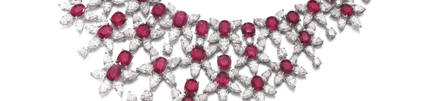 Harry Winston rubies and diamond necklace in an auction selling magnificent jewelry