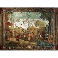 4. a large painted chinoiserie panel, in the manner of andien de clermont 18th century