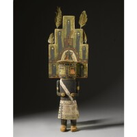 7. a hopi polychrome wood kachina doll, depicting hemis