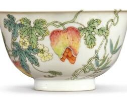543. a fine famille-rose 'balsam pear' bowl qianlong seal mark and period |