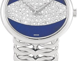 18. piaget | reference 9802 n 90 a white gold and diamond-set bracelet watch with lapis lazuli dial, circa 1975