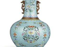 3615. a very rare famille-rose cloisonne-imitation bottle vase qing dynasty, qianlong period |