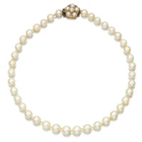 463. cultured pearl and diamond necklace
