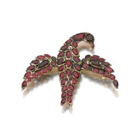 7. garnet and diamond brooch, mid 18th century