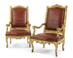40. a pair of régence carved giltwood fauteuils circa 1715