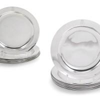 2. a composite set of twenty-onesilverdessert plates, seventeen, martin-guillaume biennais, paris, 1798-1809, three luigi vernazzi, parma, circa 1810, and one, j.c. klinkosch, vienna, circa 1900 |