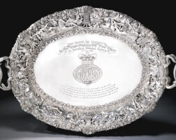 59. presentation from h.r.h. the prince regent to general thomas garth, 2 may 1816 a george iii silver two-handled tray, paul storr for rundell, bridge & rundell, london, 1815, after designs by thomas stothard