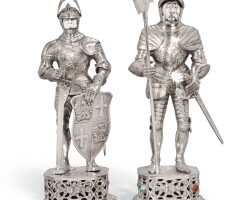 705. a pair of german silver model figures of knights in armour, probably ludwig neresheimer & co. of hanau, one importer's mark of i. freeman & & son ltd. of london, second quarter of the 20th century
