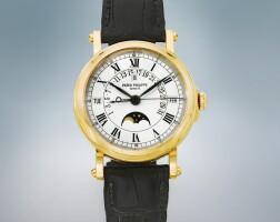 42. 百達翡麗(patek philippe) | 5059j型號黃金自動上鏈萬年曆腕錶備逆跳日期、月相及閏年顯示,1999年製。