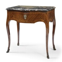 45. a fine quarter-veneered kingwood and marble mounted side table louis xv, mid 18th century