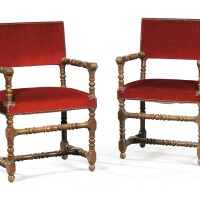 5. a pair ofoak armchairs in louis xiii style, 19th century |