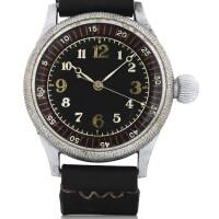 28. seikosha | oversized nickel-plated military pilot's wristwatch with original strapcirca 1942