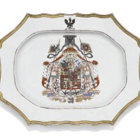 13. a chinese exportarmorial meat dish with the royal coat-of-arms of prussia, qing dynasty, circa 1755