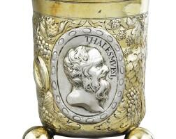 250. a german largeparcel-gilt silver beaker on three ball feet, hans philipp sigmund, augsburg, 1670-1674   a german largeparcel-gilt silver beaker on three ball feet, hans philipp sigmund, augsburg, 1670-1674