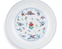 3619. a fine and rare doucai 'butterfly' dish mark and period of yongzheng |