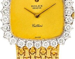 164. rolex   cellini, reference 4082 16a yellow gold and diamond-set bracelet watch, circa 1980