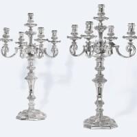 144. a pair oflarge victorian silverfive-light candelabra, r. & s. garrard & co., london, 1858 |