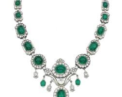 368. emerald and diamond necklace